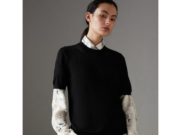Silk Cashmere T-shirt in Black - Women | Burberry Australia - cell image 4