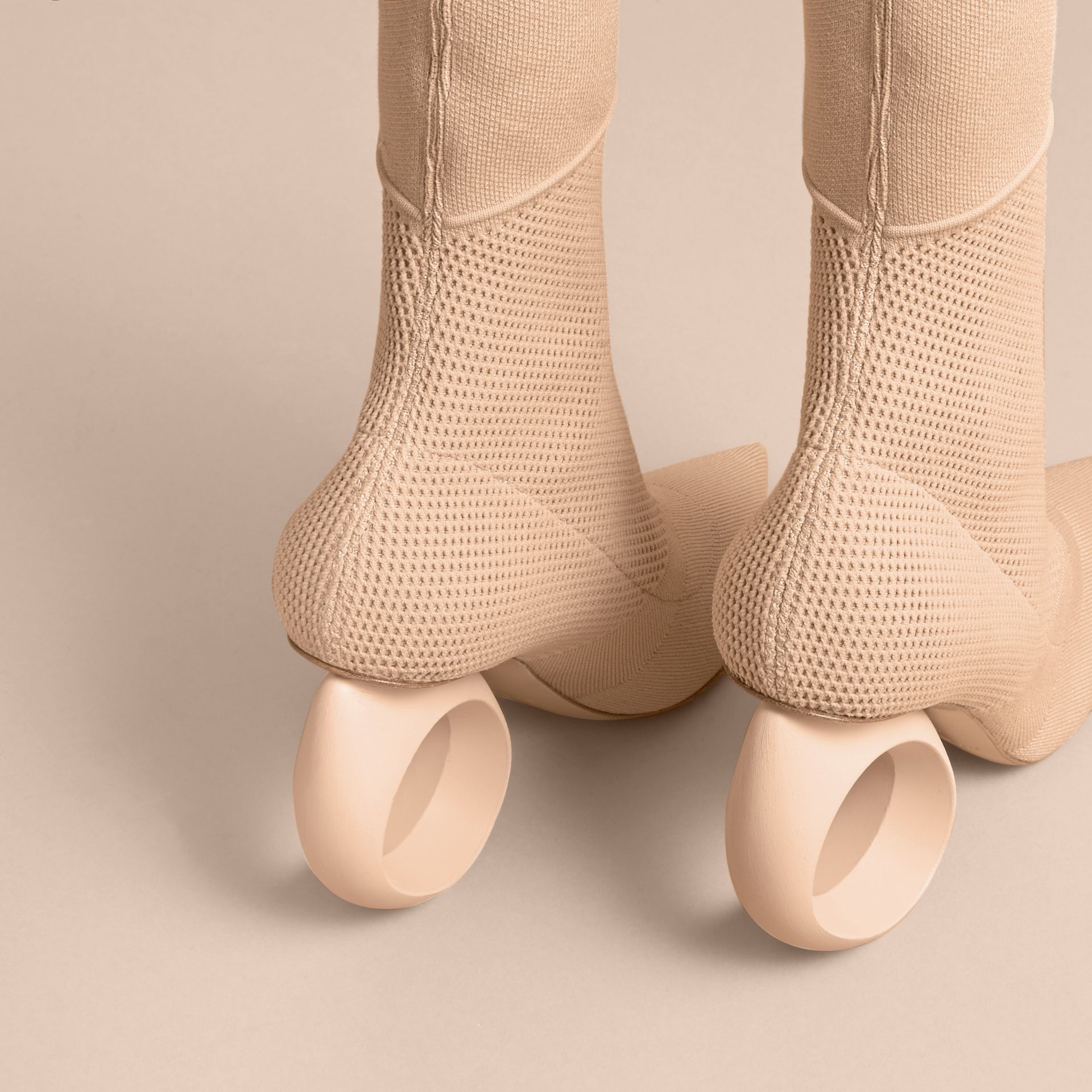 Mid-calf Knitted Boots with Sculpted Heel in Nude - Women | Burberry - gallery image 5