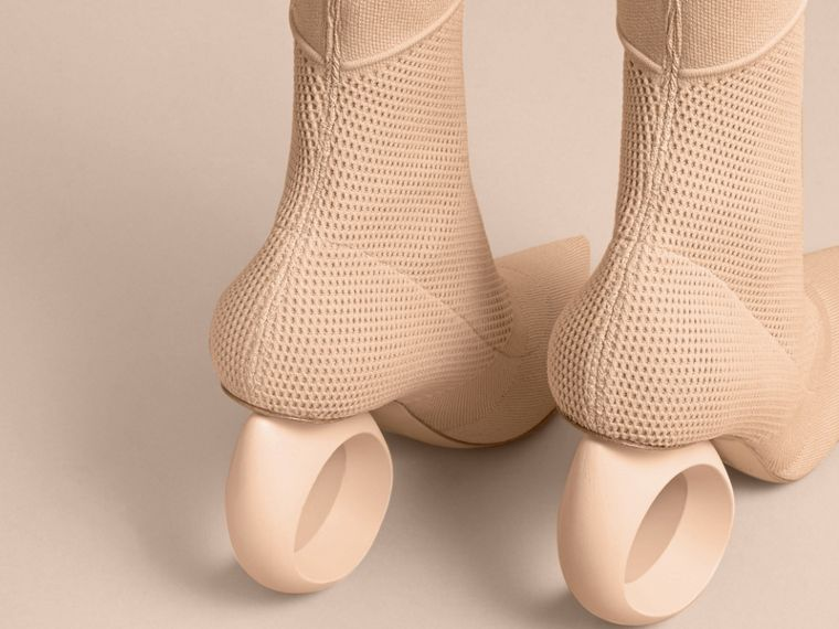 Mid-calf Knitted Boots with Sculpted Heel in Nude - Women | Burberry - cell image 4