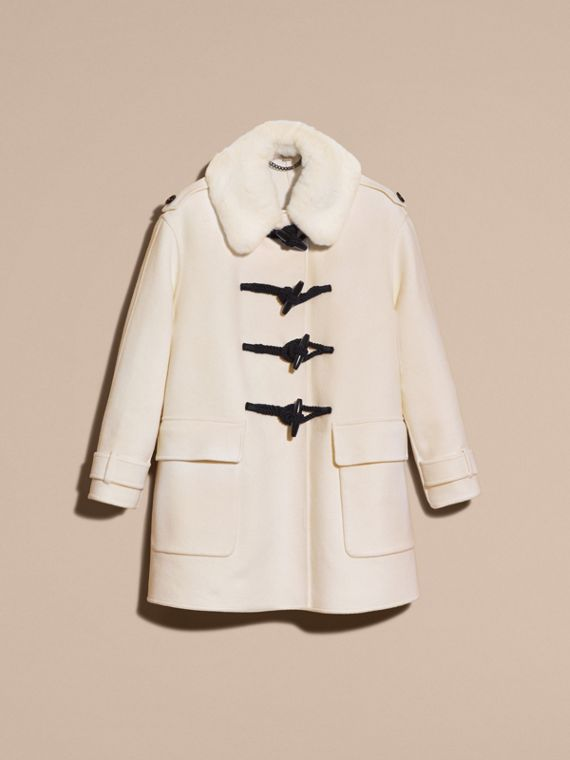 White Cashmere Duffle Coat with Detachable Fur Collar - cell image 3