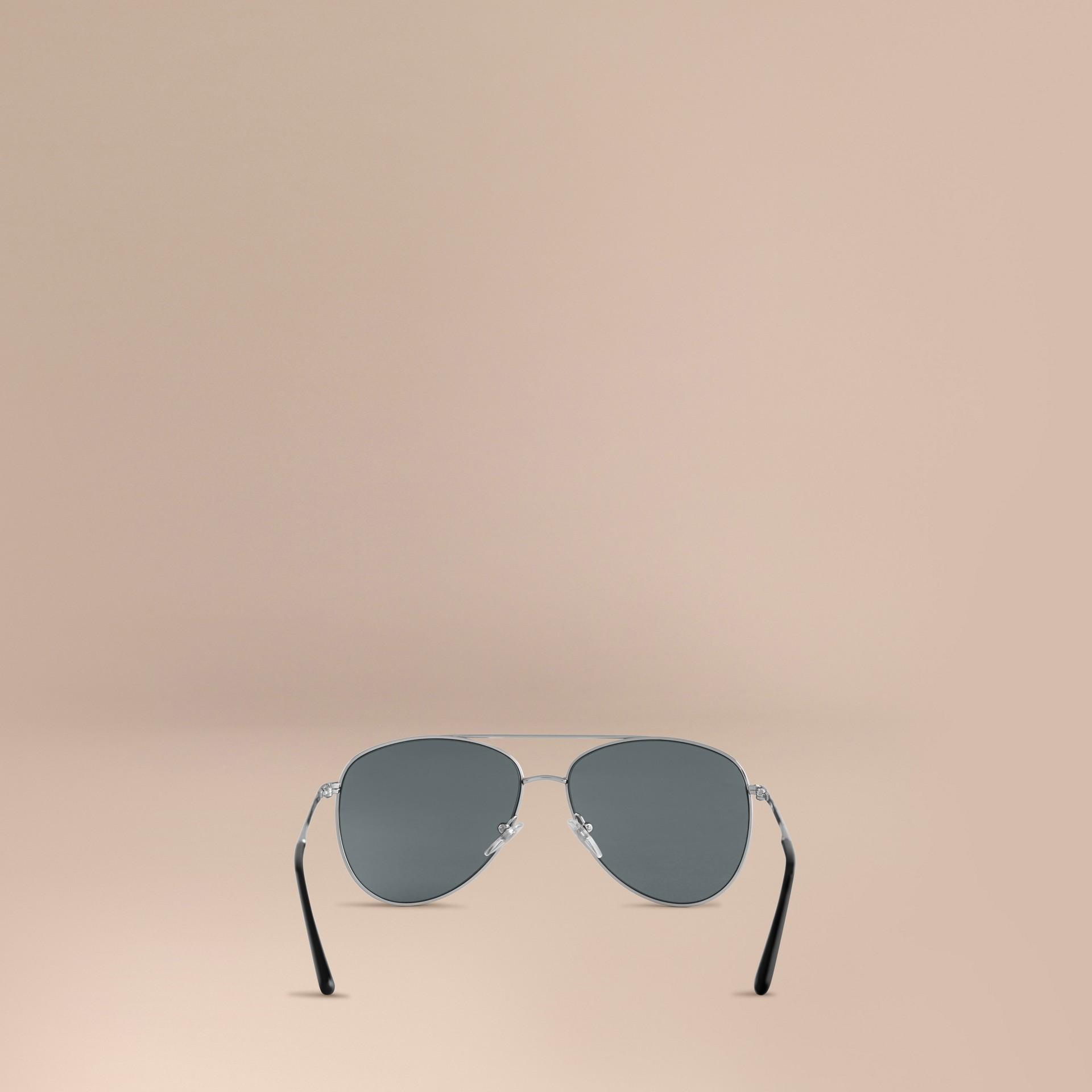Silver Check Arm Aviator Sunglasses Silver - gallery image 4