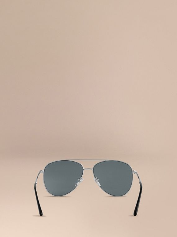 Silver Check Arm Aviator Sunglasses Silver - cell image 3