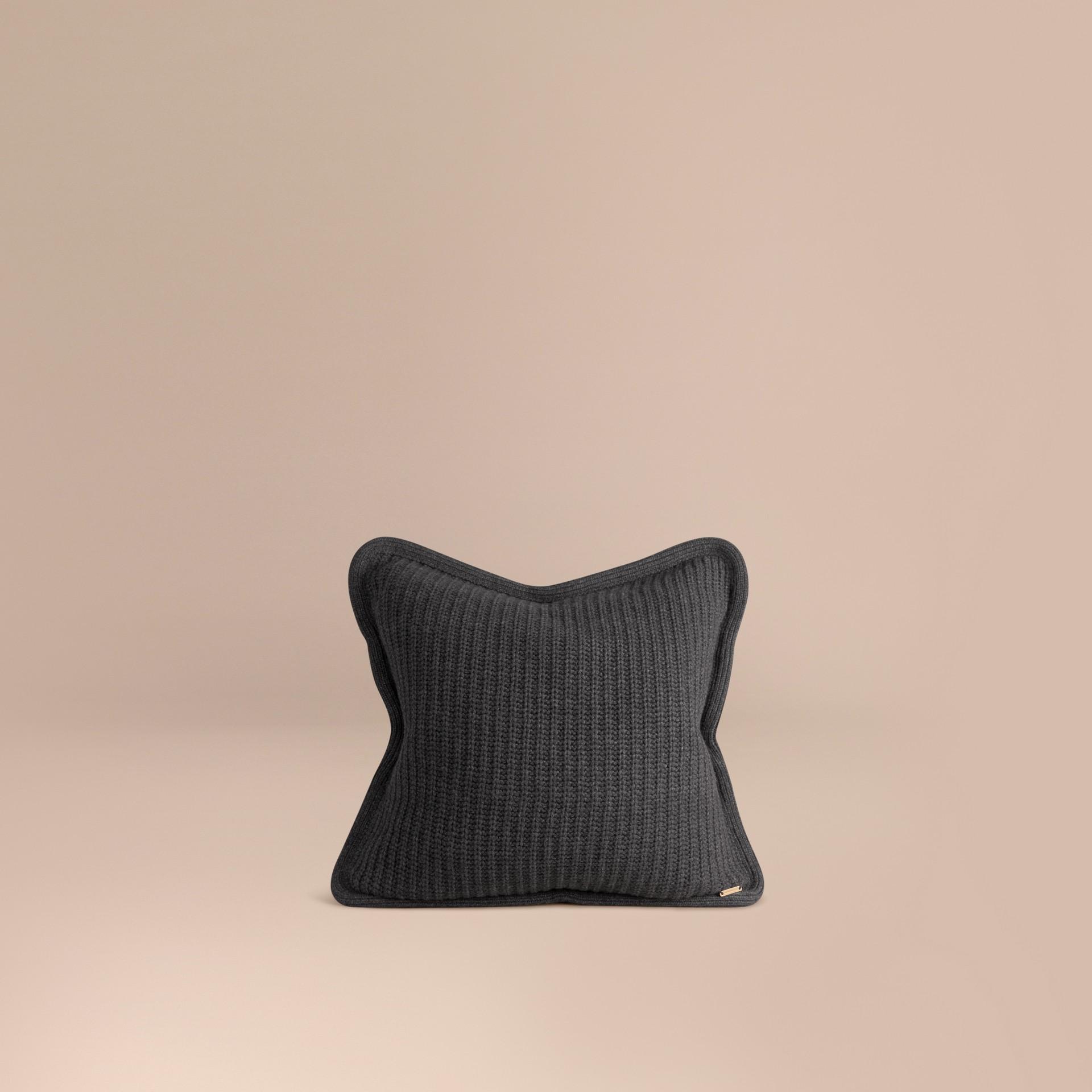 Dark grey melange Knitted Cashmere Cushion Cover Dark Grey Melange - gallery image 1