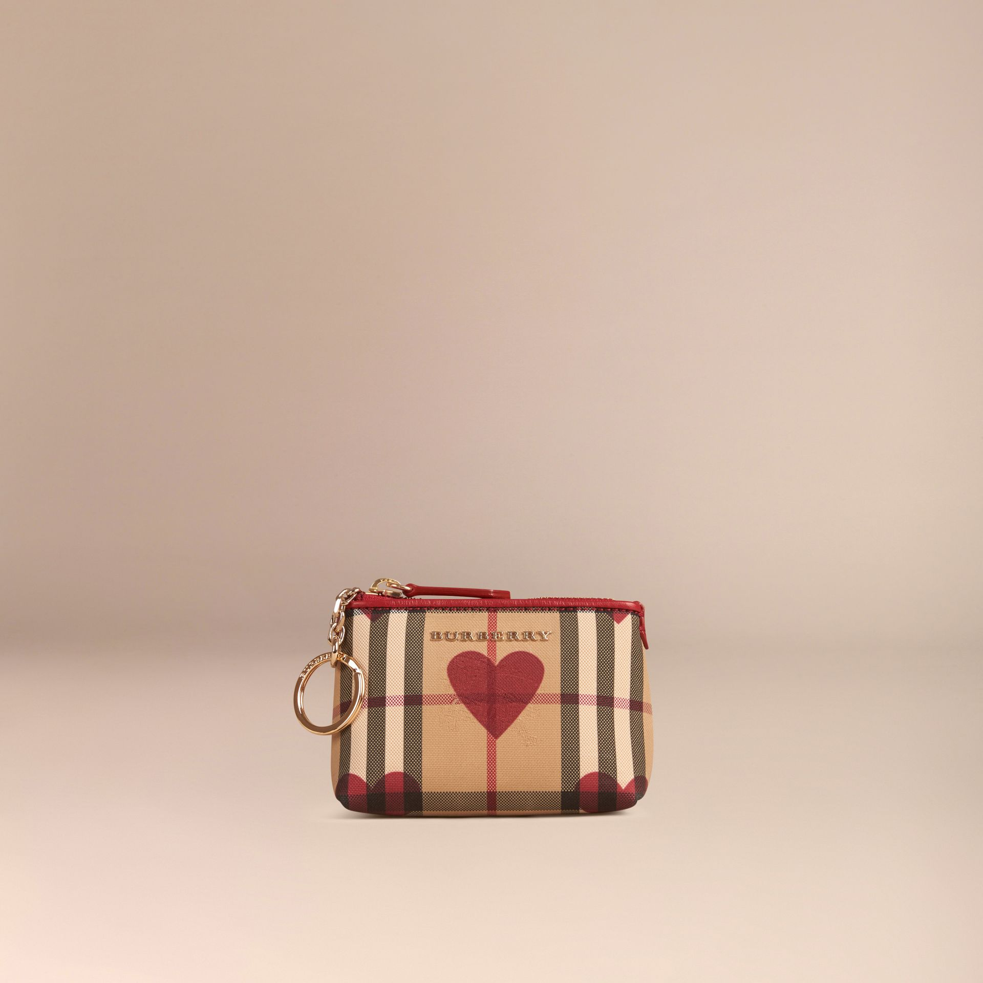 Parade red Heart Print Horseferry Check Coin Case Parade Red - gallery image 2