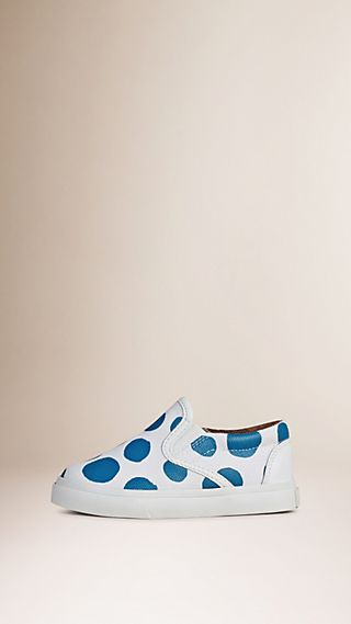 Dot Print Cotton and Leather Slip-on Trainers