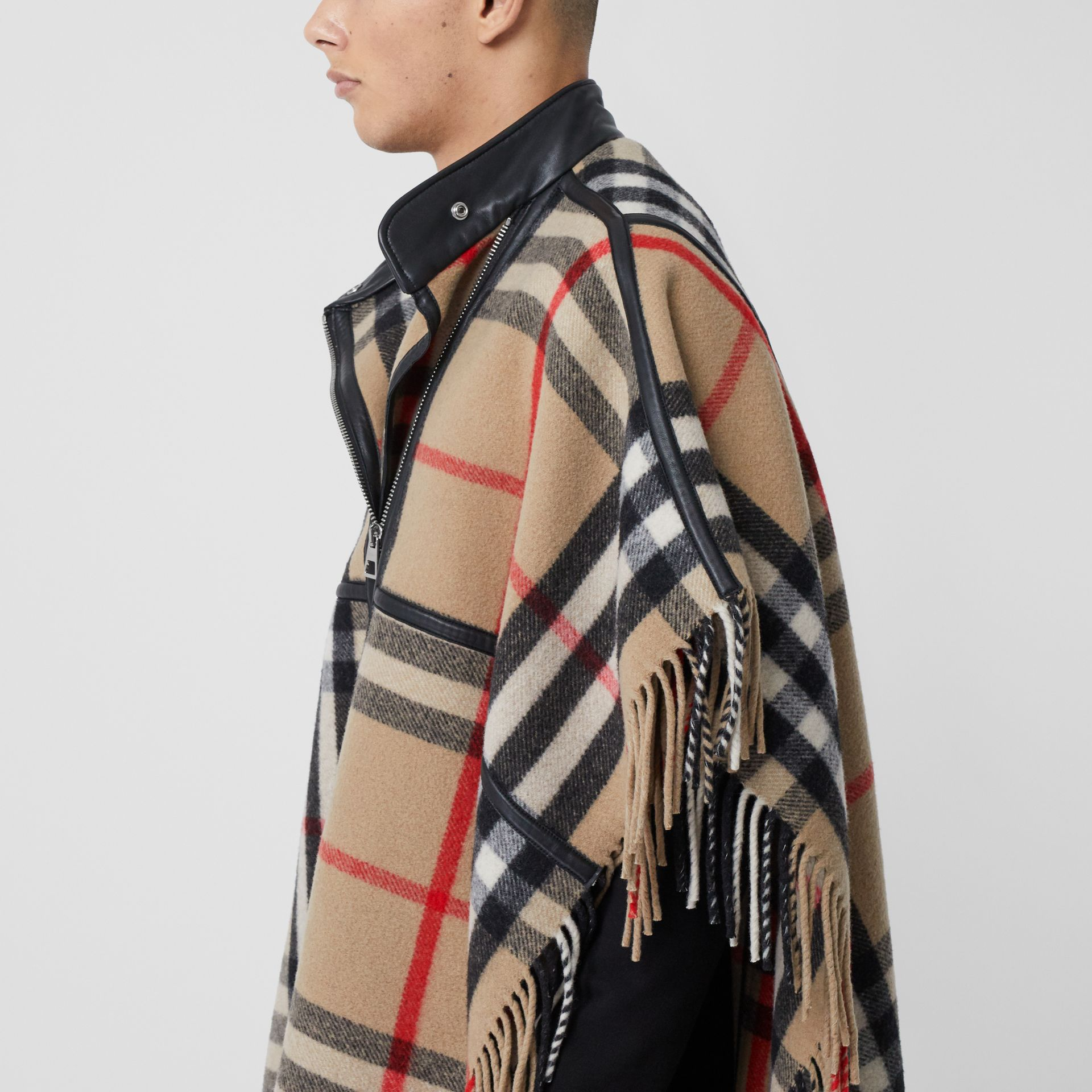 Check Wool Blend Zip-front Cape in Archive Beige | Burberry Australia - gallery image 1