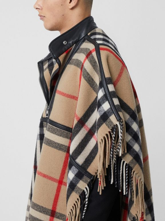 Check Wool Blend Zip-front Cape in Archive Beige | Burberry - cell image 1