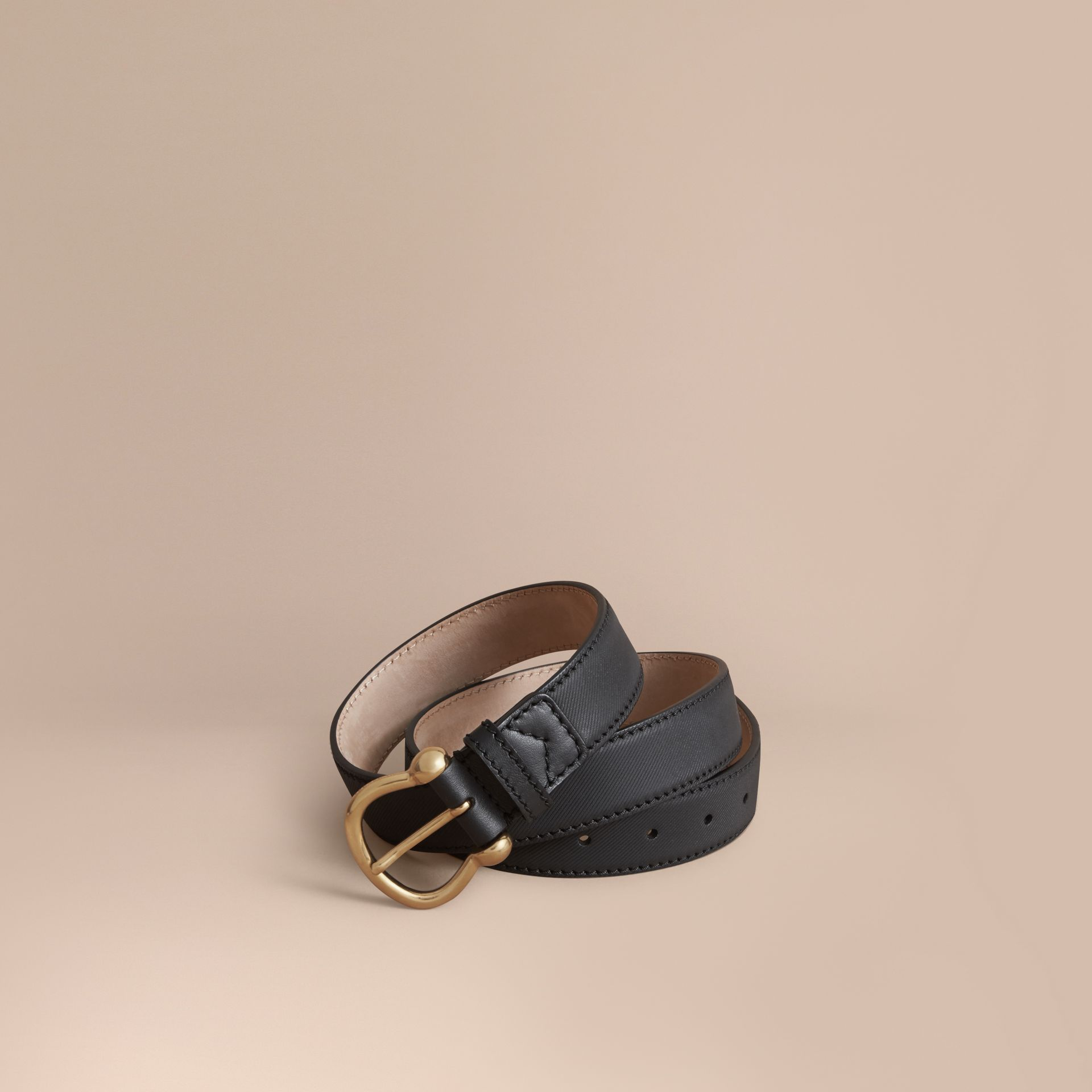 Trench Leather Belt in Black - Women | Burberry - gallery image 1