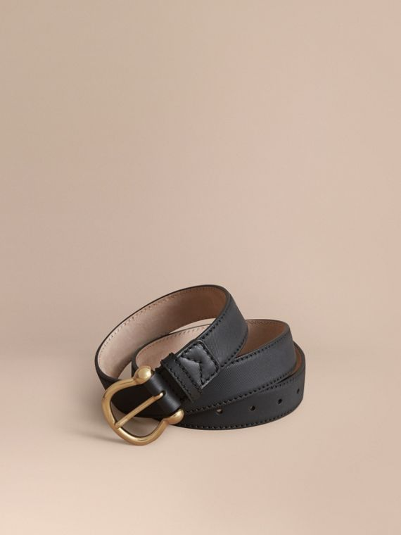 Trench Leather Belt in Black