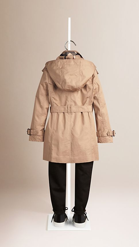 Honey Cotton Twill Detachable Hood Trench Coat - Image 3