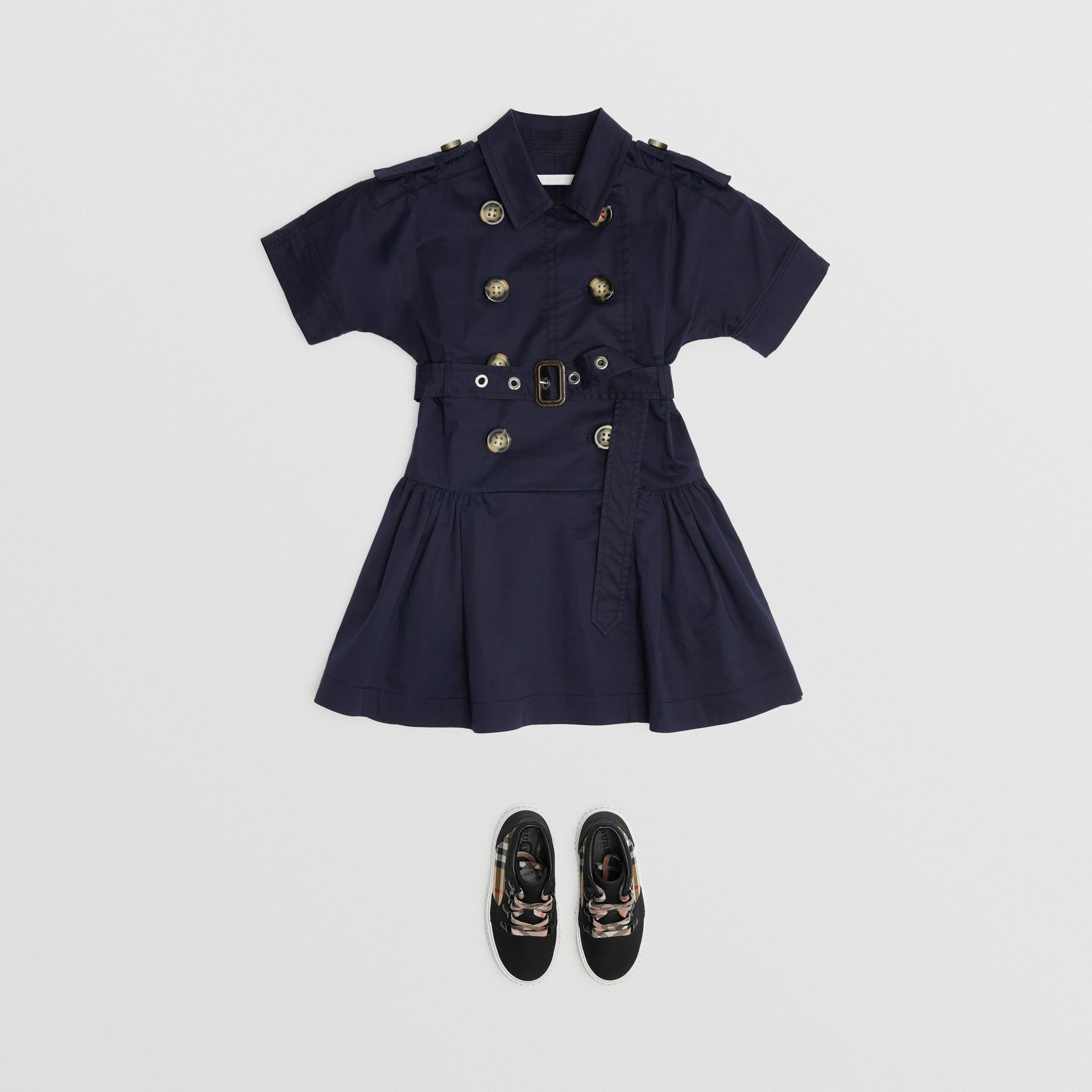 Stretch Cotton Trench Dress in Midnight | Burberry - gallery image 2