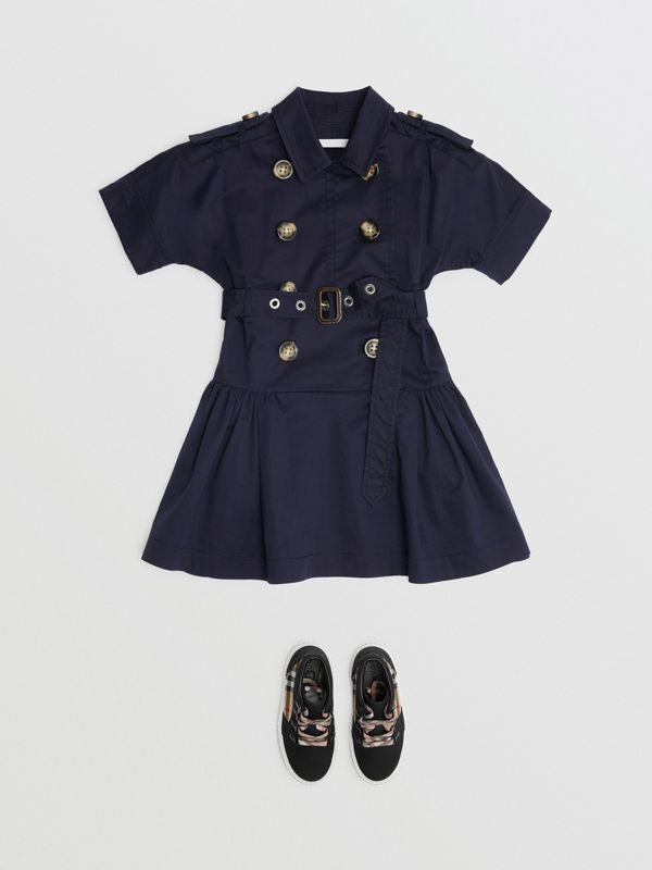 Stretch Cotton Trench Dress in Midnight | Burberry Australia - cell image 2
