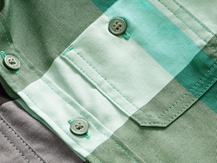 Short-sleeved Check Cotton Shirt Eucalyptus - cell image 1