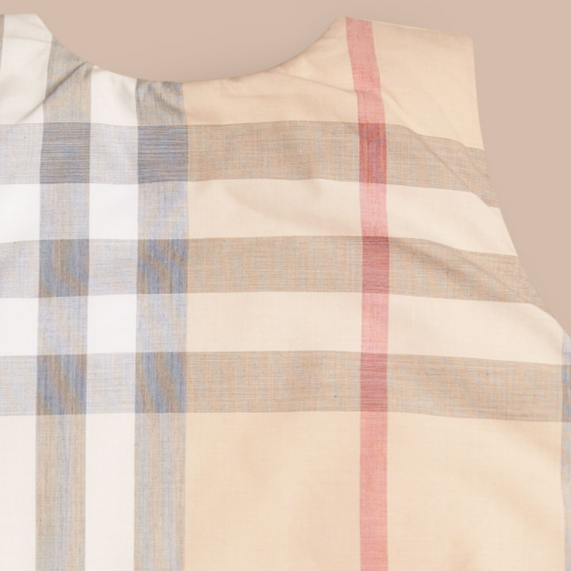 Pale stone Check Cotton Baby Sleeping Bag - gallery image 2