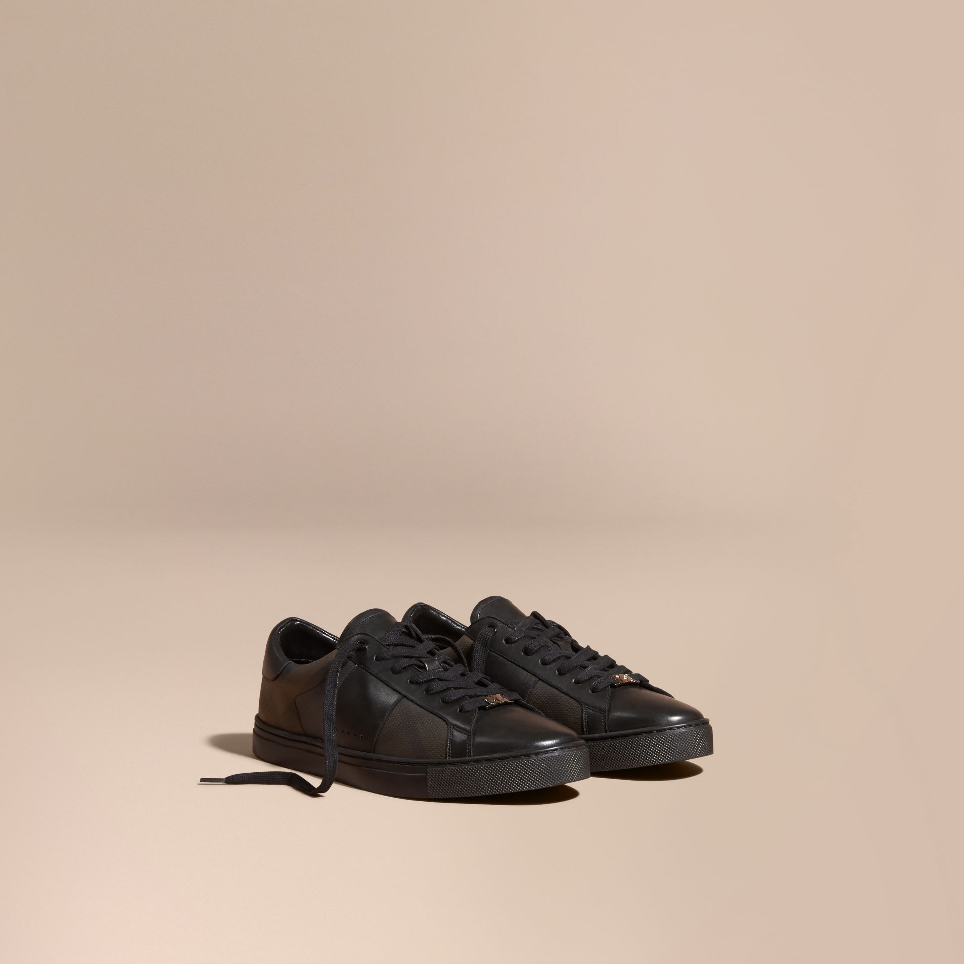 Check Detail Leather Trainers in Smoked Chocolate Chk - Men | Burberry - gallery image 1