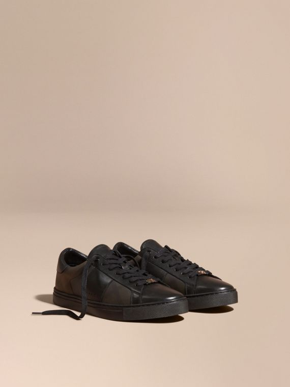 Check Detail Leather Trainers in Smoked Chocolate Chk - Men | Burberry