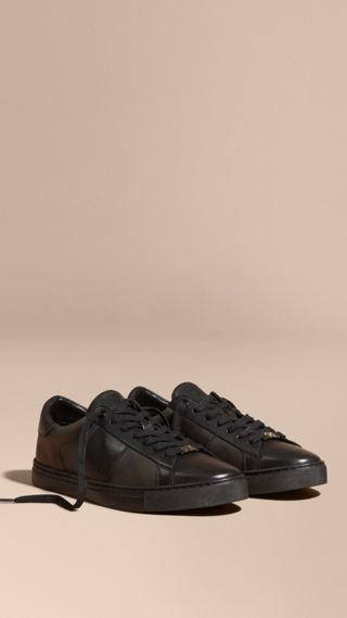 Check Detail Leather Trainers