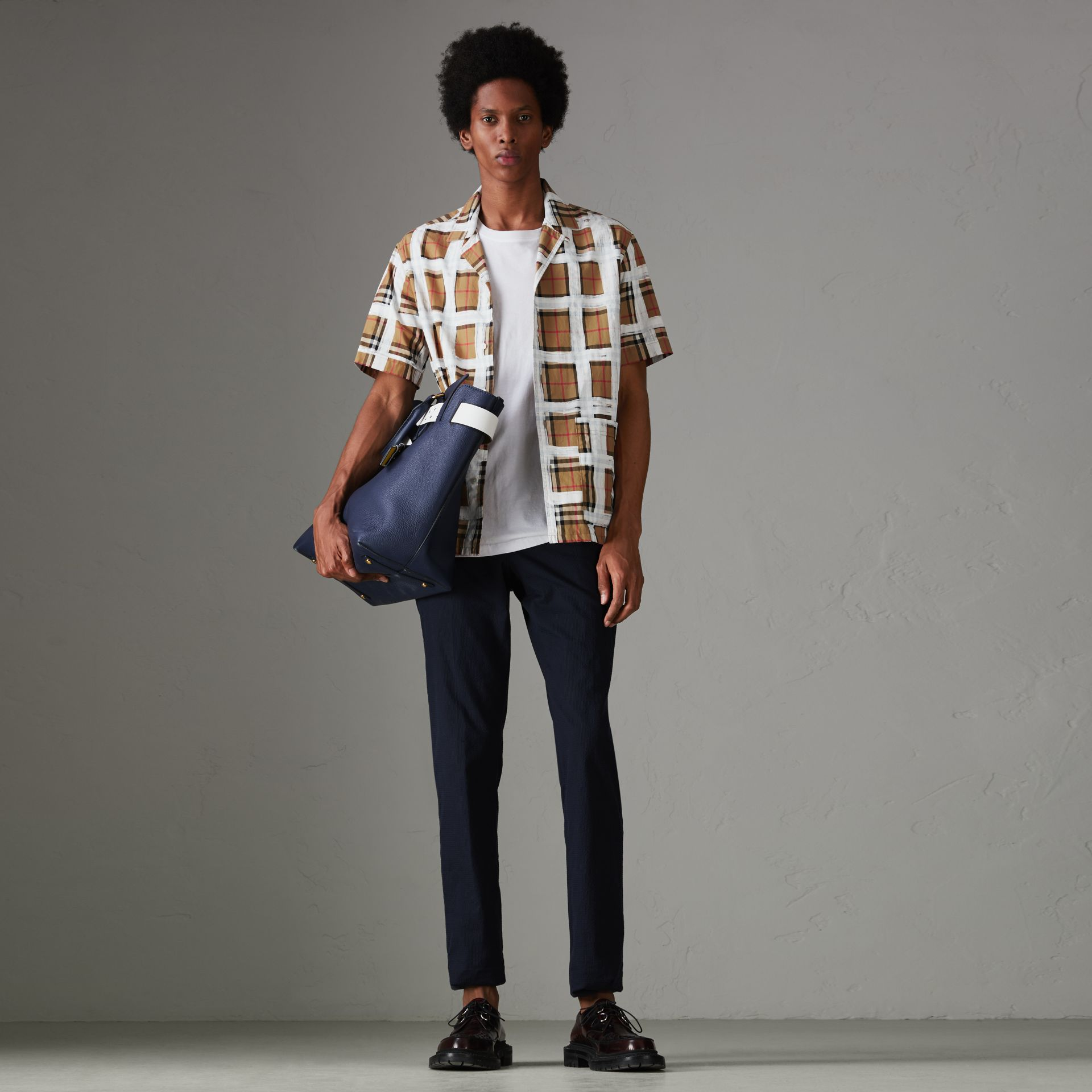 Short-sleeve Painted Vintage Check Cotton Shirt in Antique Yellow - Men | Burberry Australia - gallery image 0