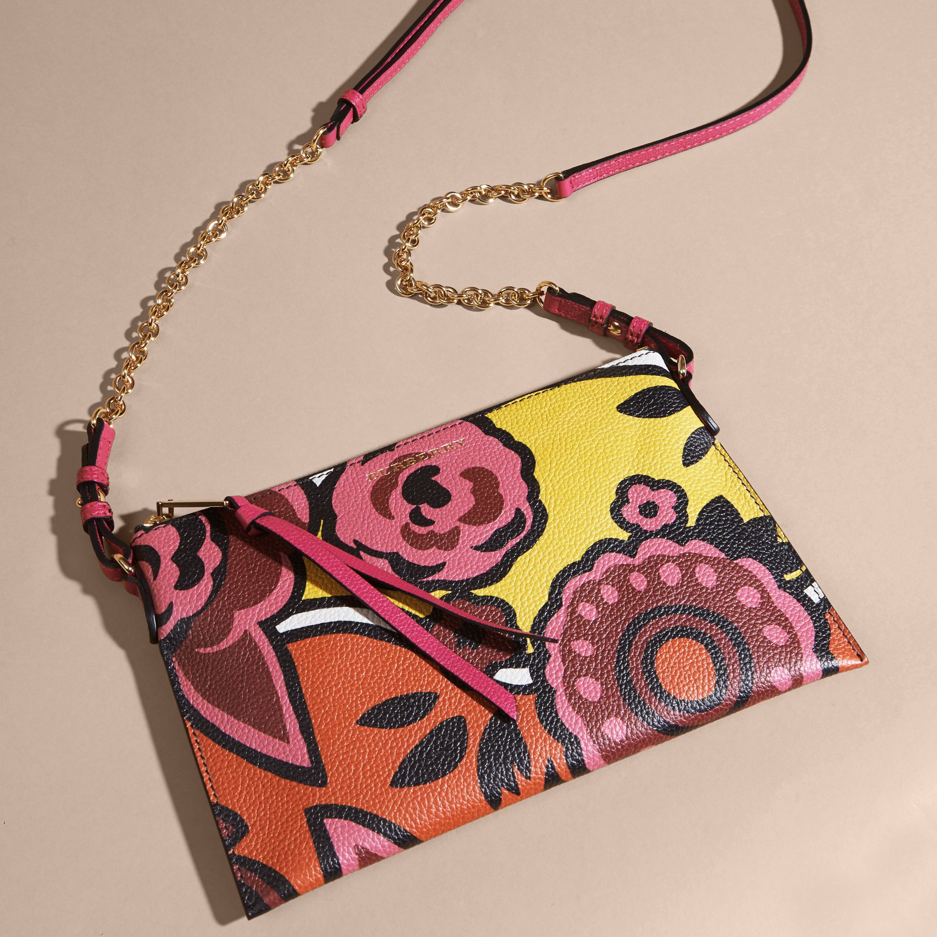 Floral Print Leather Clutch Bag in Vibrant Orange - gallery image 8