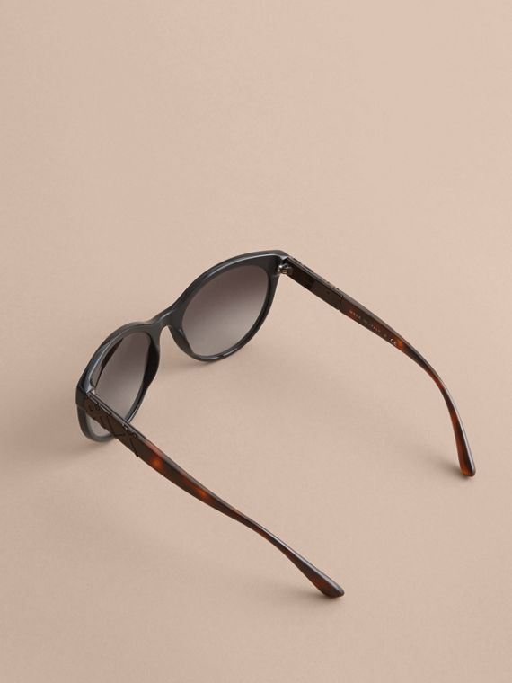Check Detail Round Frame Sunglasses in Black - Women | Burberry - cell image 3