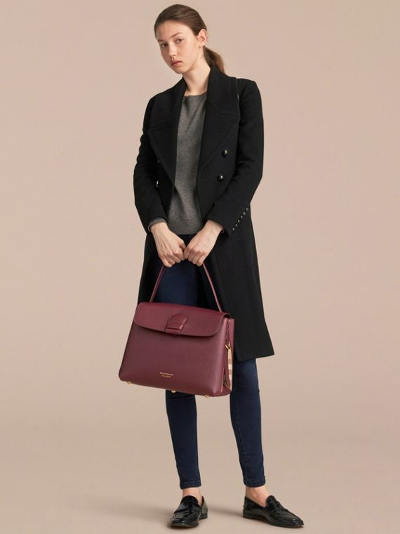 Medium Grainy Leather and House Check Tote Bag in Mahogany Red - Women | Burberry Australia - cell image 3