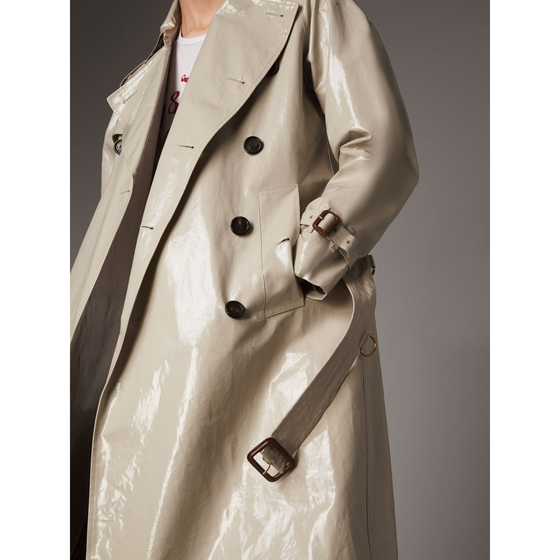 Laminated Cotton Gabardine Trench Coat in Stone - Men | Burberry - gallery image 1