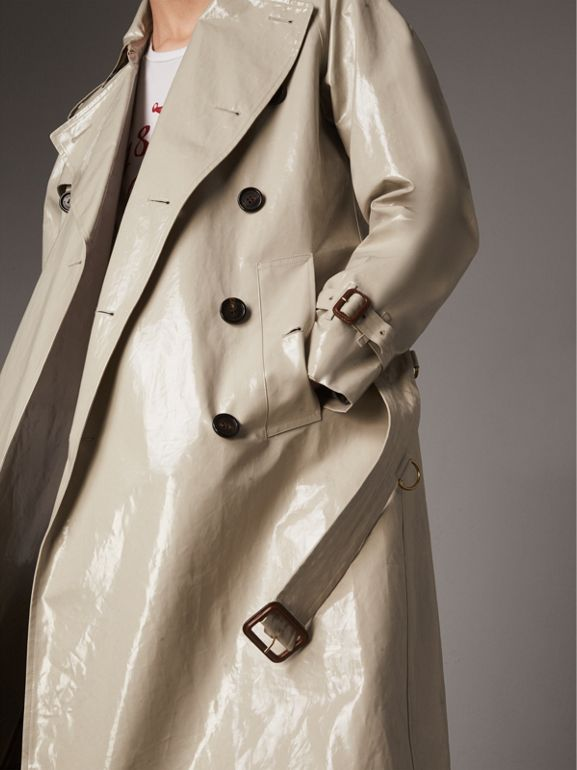 Laminated Cotton Gabardine Trench Coat in Stone - Men | Burberry United Kingdom - cell image 1