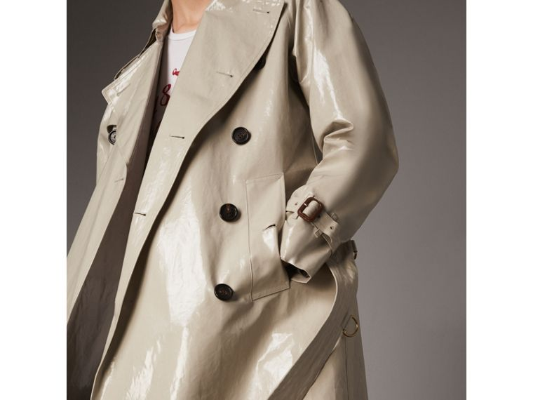 Laminated Cotton Gabardine Trench Coat in Stone - Men | Burberry - cell image 1