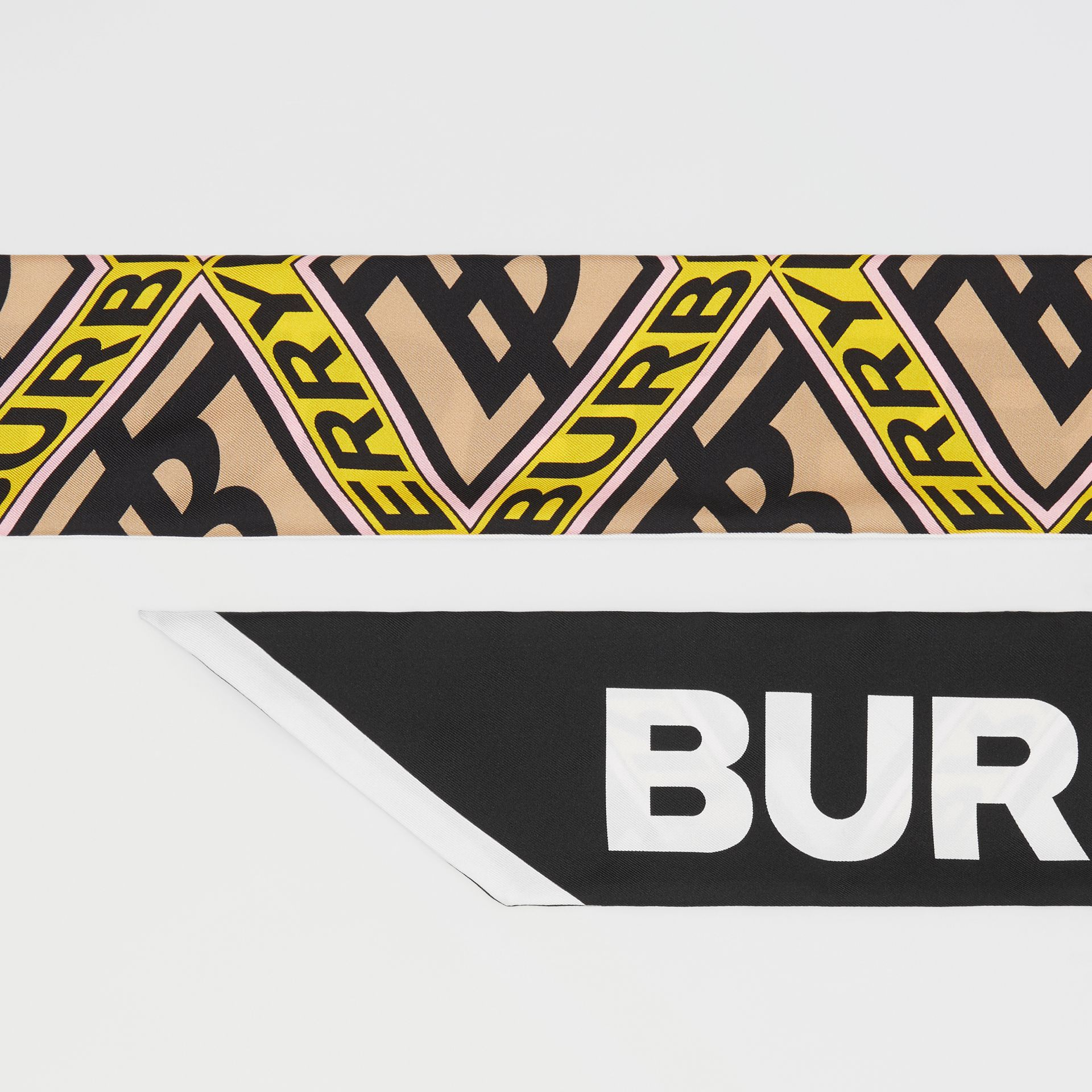 Logo Graphic Print Silk Skinny Scarf in Canary Yellow | Burberry - gallery image 1