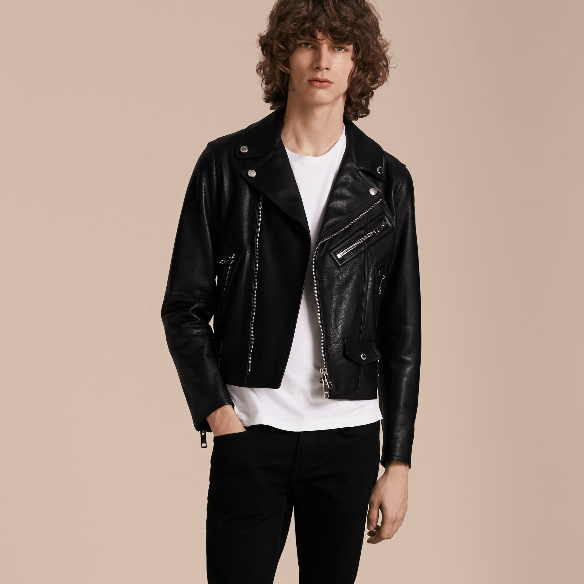 Black Clean-lined Leather Biker Jacket - gallery image 7