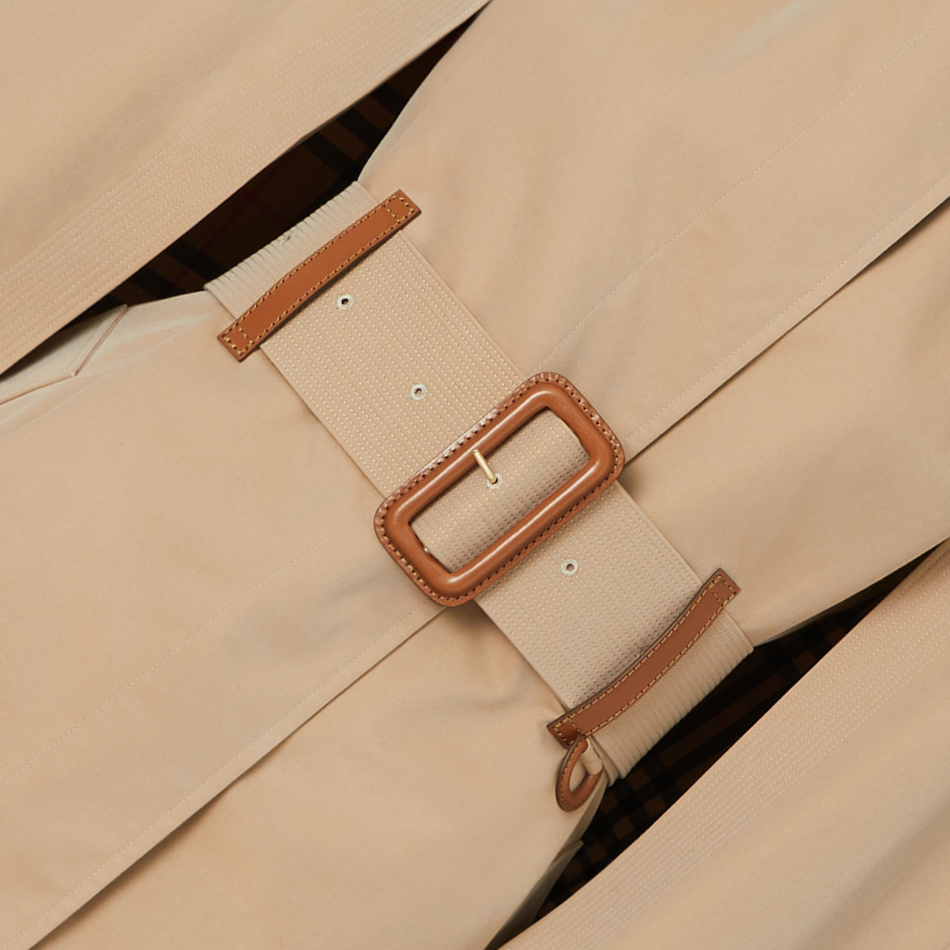 Leather Detail Cotton Gabardine Belted Cape in Honey - Women | Burberry - gallery image 1