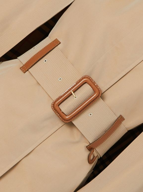 Leather Detail Cotton Gabardine Belted Cape in Honey - Women | Burberry - cell image 1