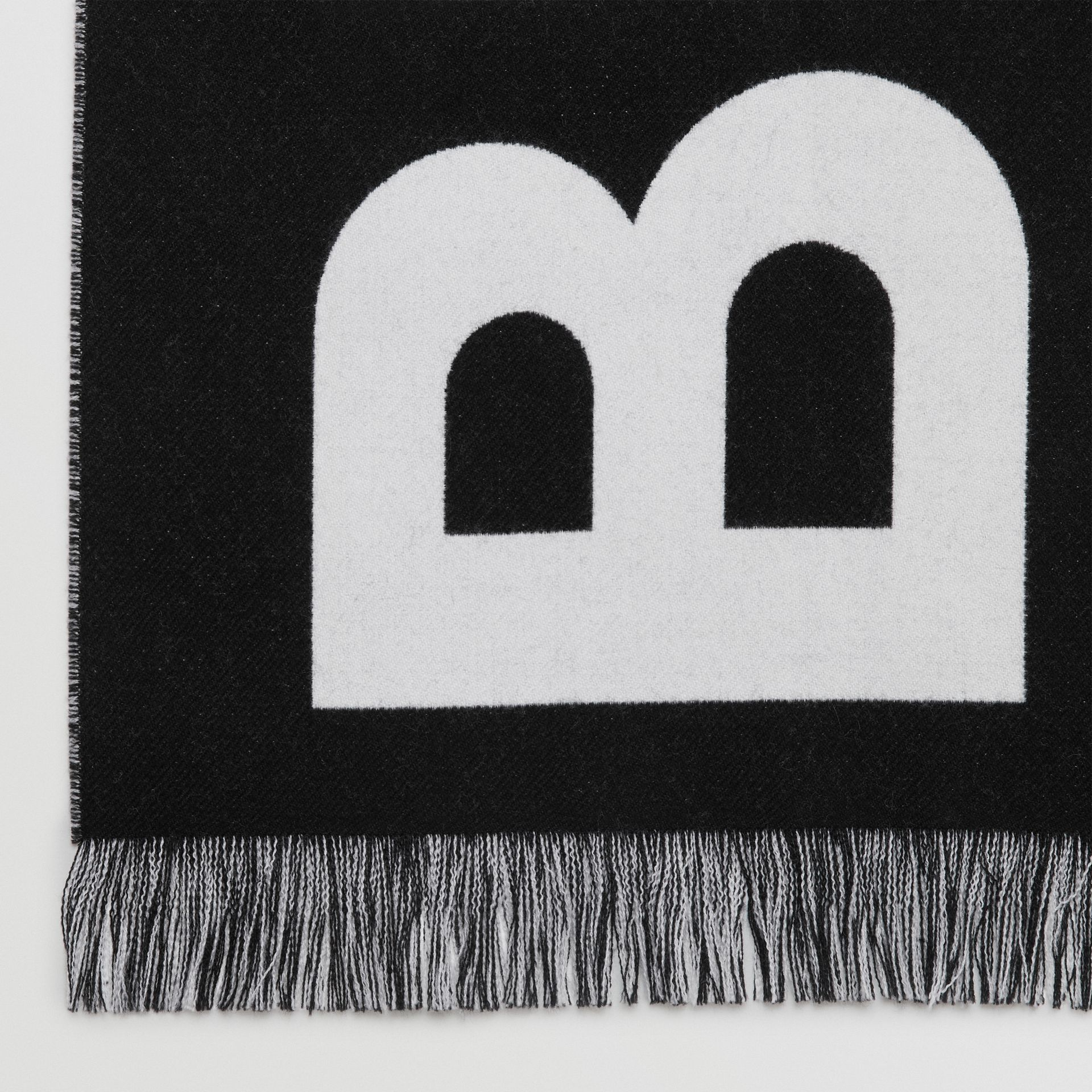 Logo Wool Scarf in Black/white | Burberry Australia - gallery image 1