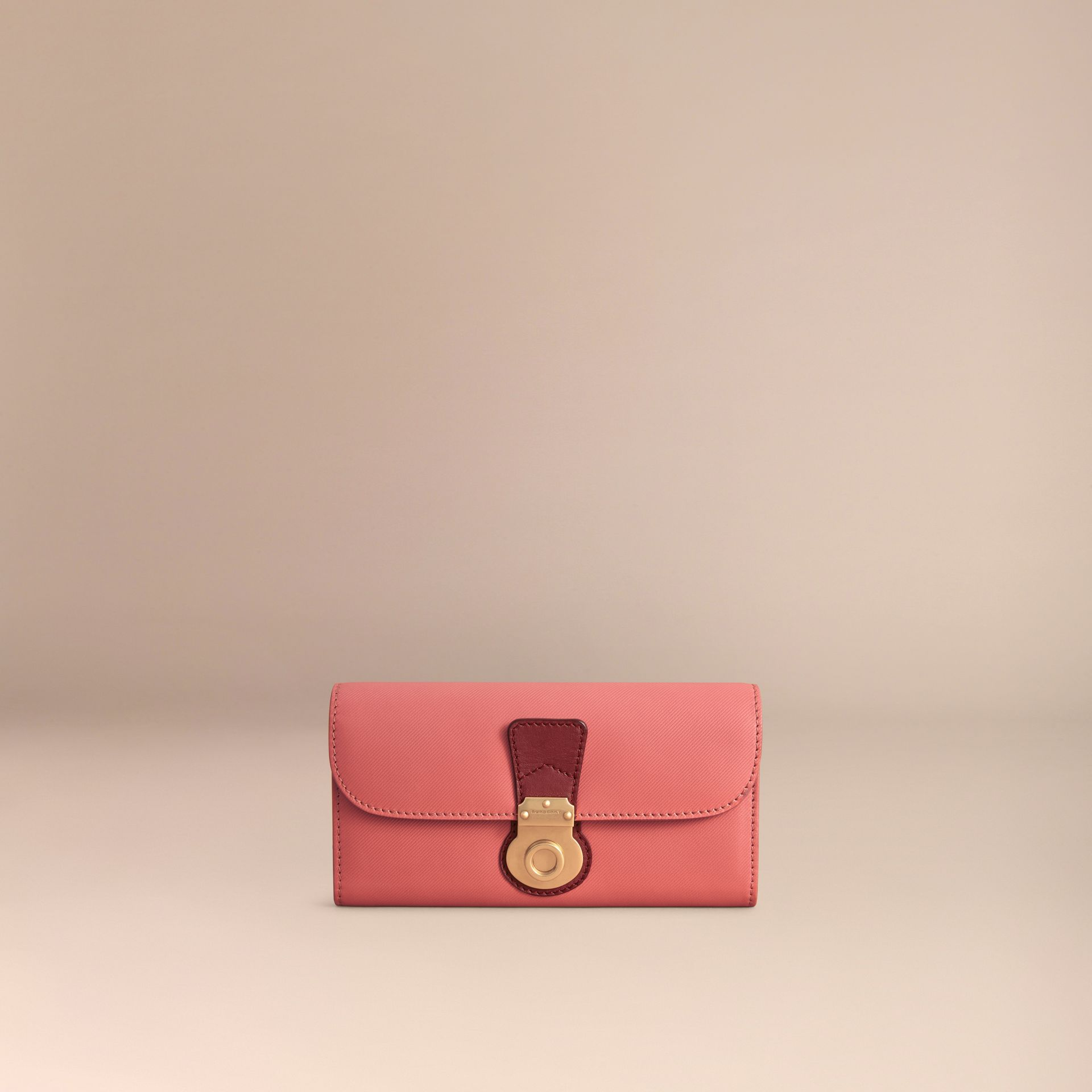 Two-tone Trench Leather Continental Wallet in Blossom Pink/antique Red - Women | Burberry - gallery image 6