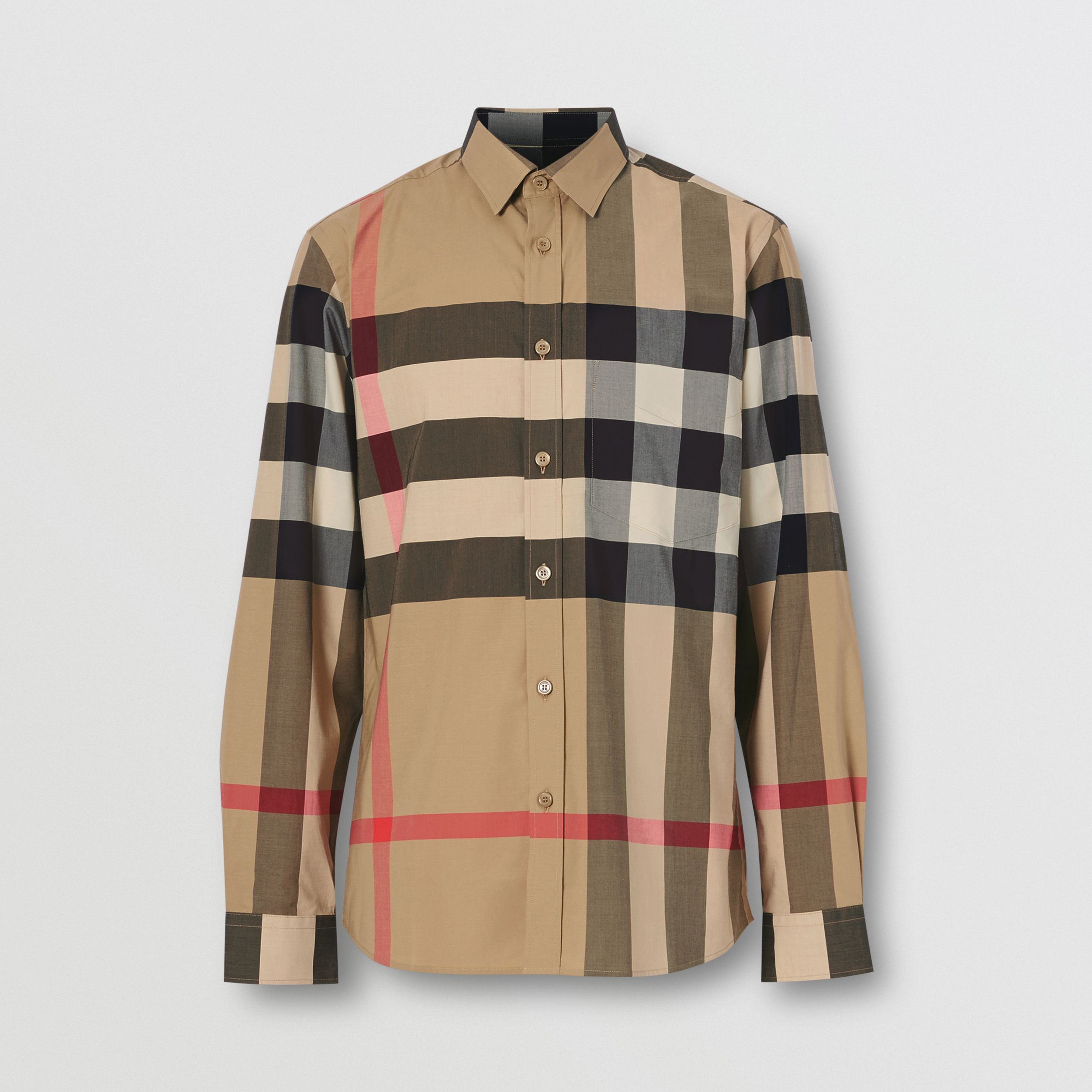 Check Stretch Cotton Poplin Shirt in Archive Beige - Men | Burberry - 4
