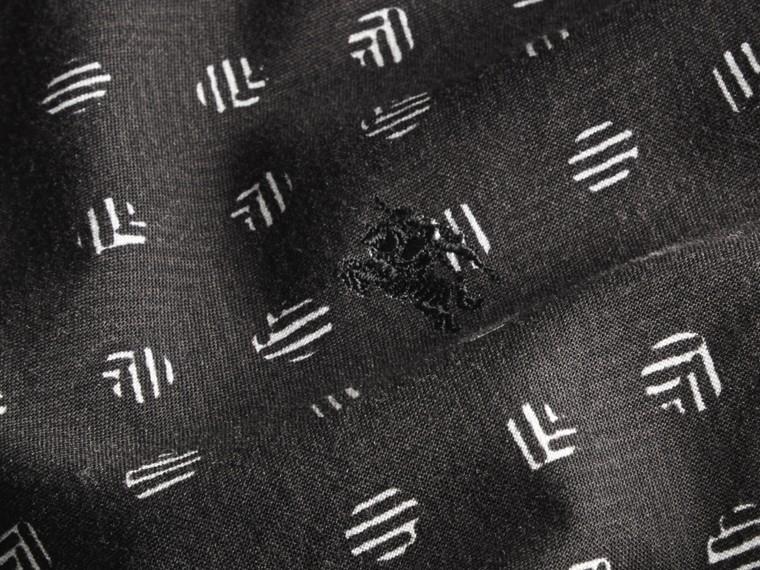 Preto Camisa estampada de linho e algodão com mangas curtas - cell image 1