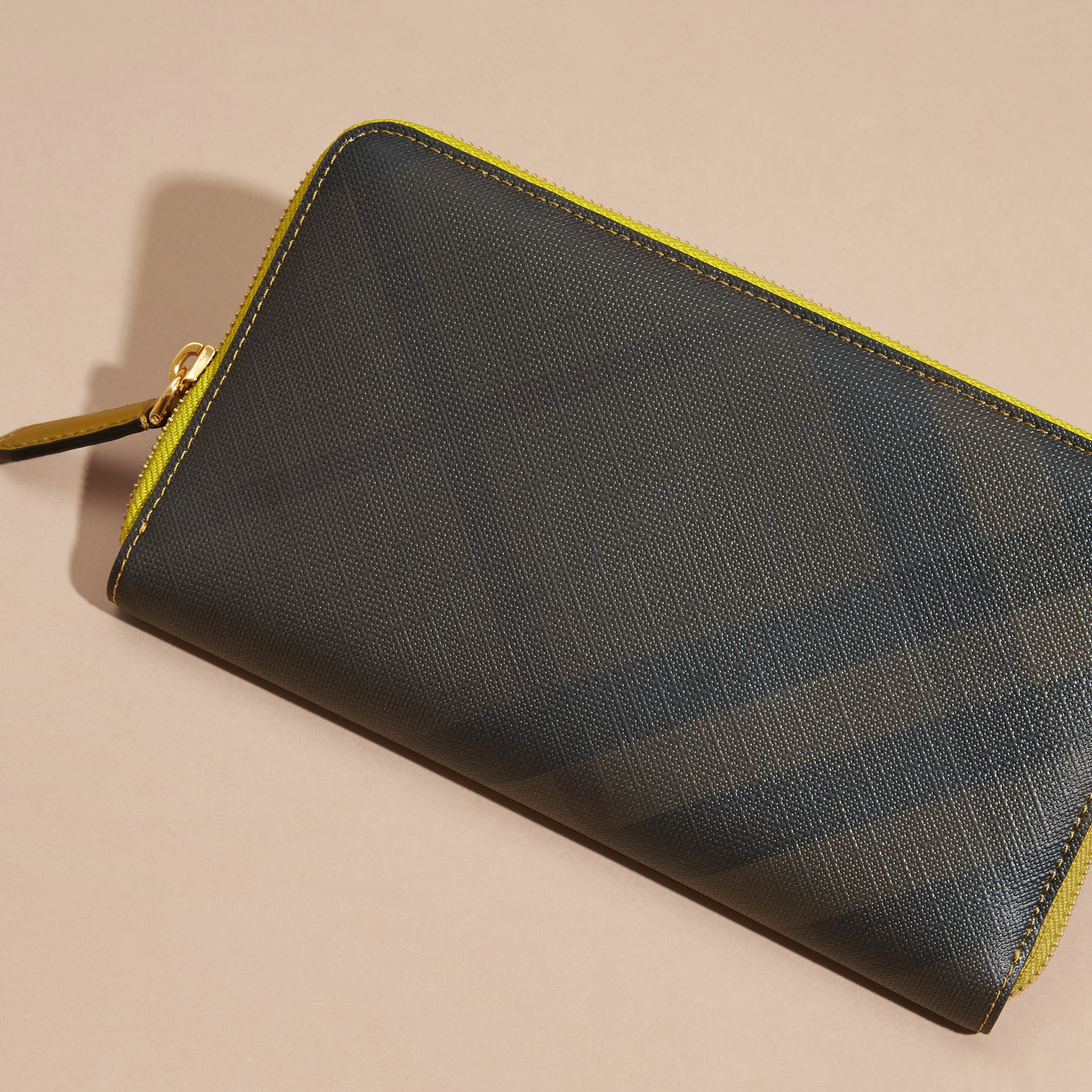 Larch yellow Contrast Trim London Check Ziparound Wallet - gallery image 3
