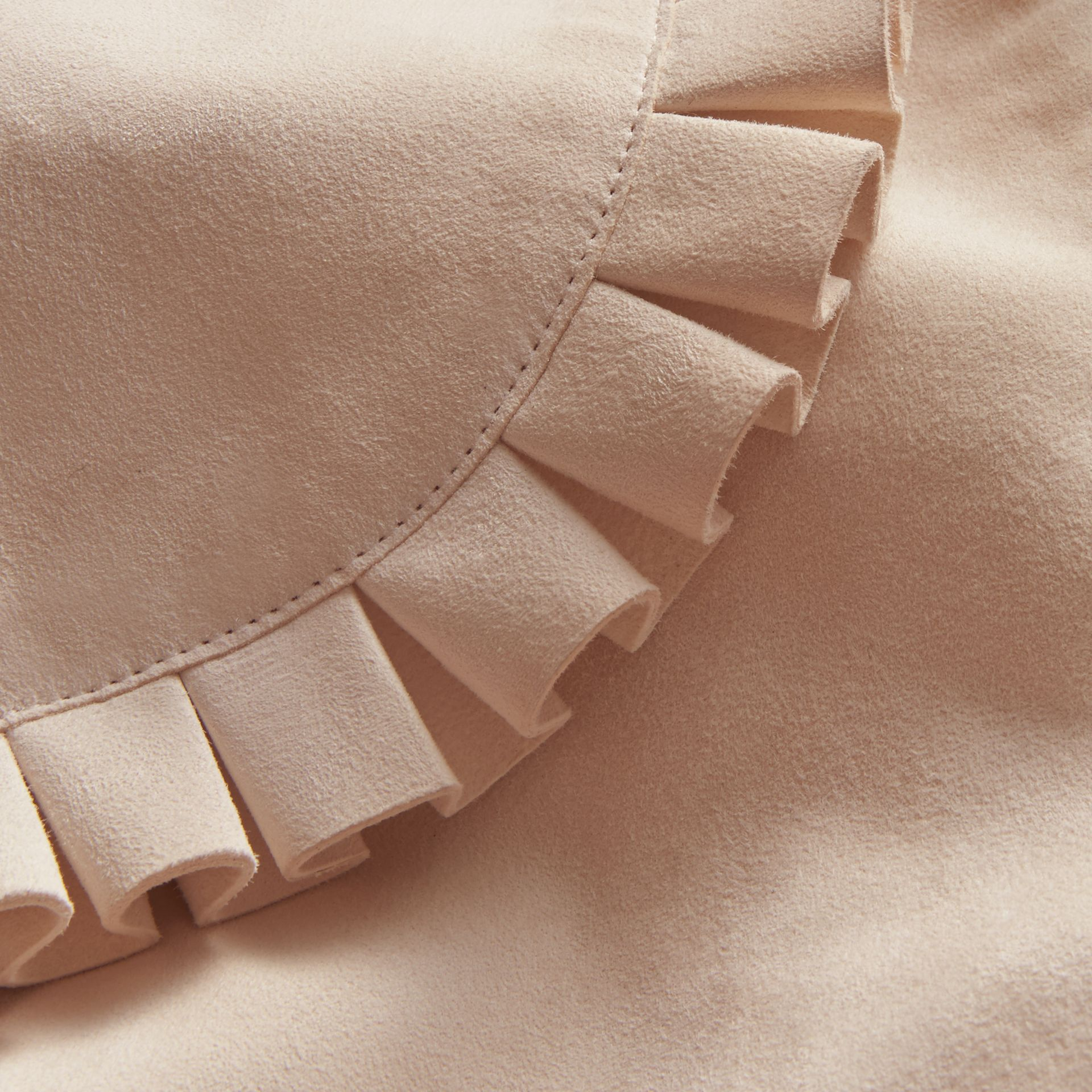 Ruffled Suede Cropped Cape in White - Women | Burberry - gallery image 2