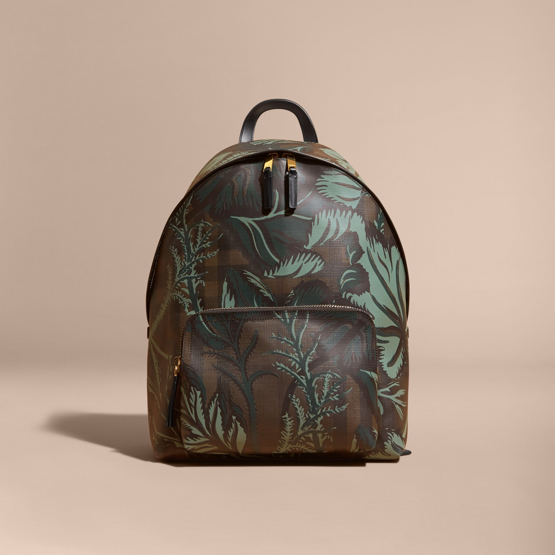 Leather Trim Floral Print London Check Backpack Chocolate - gallery image 8