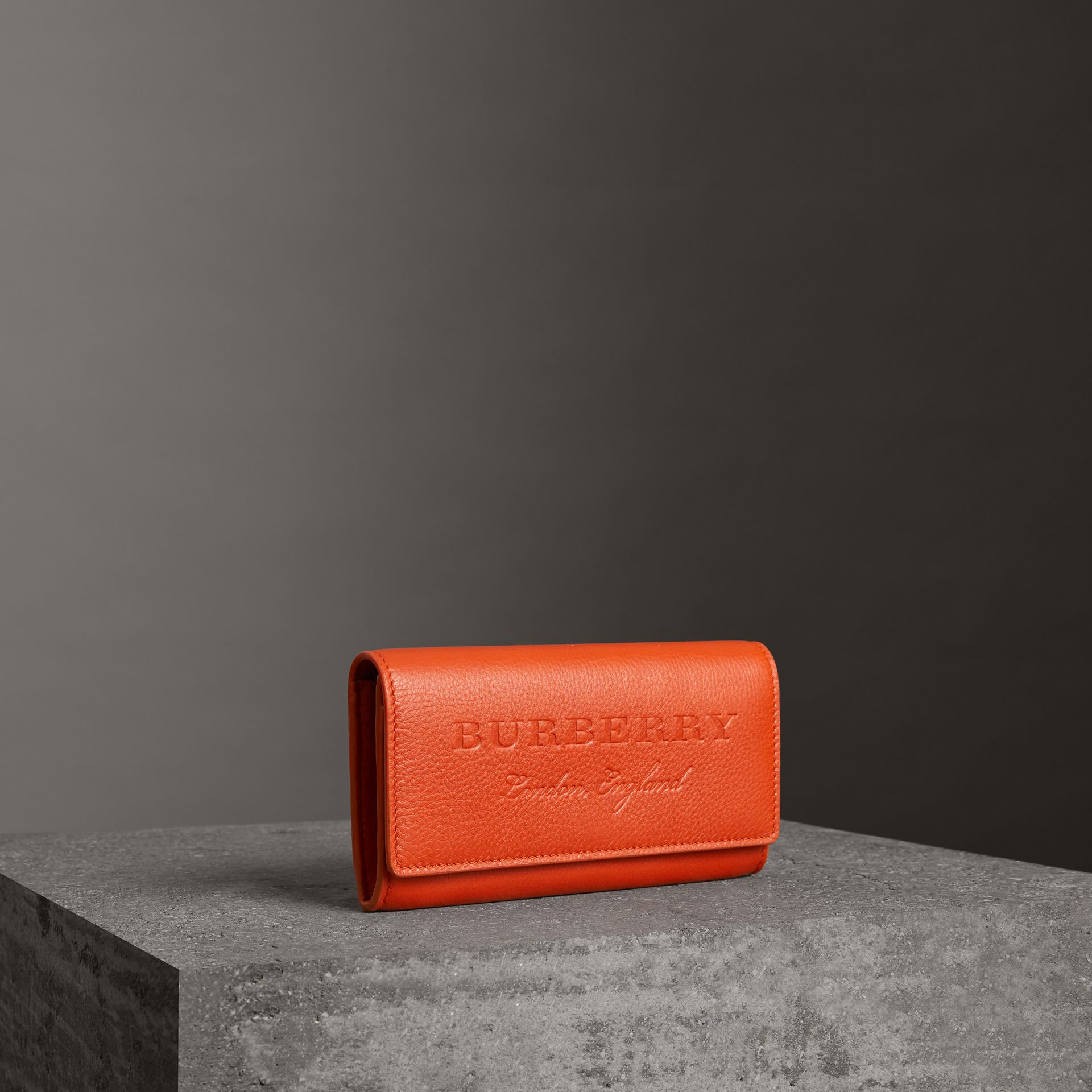 Embossed Leather Continental Wallet in Dark Clementine - Women | Burberry United Kingdom - gallery image 0