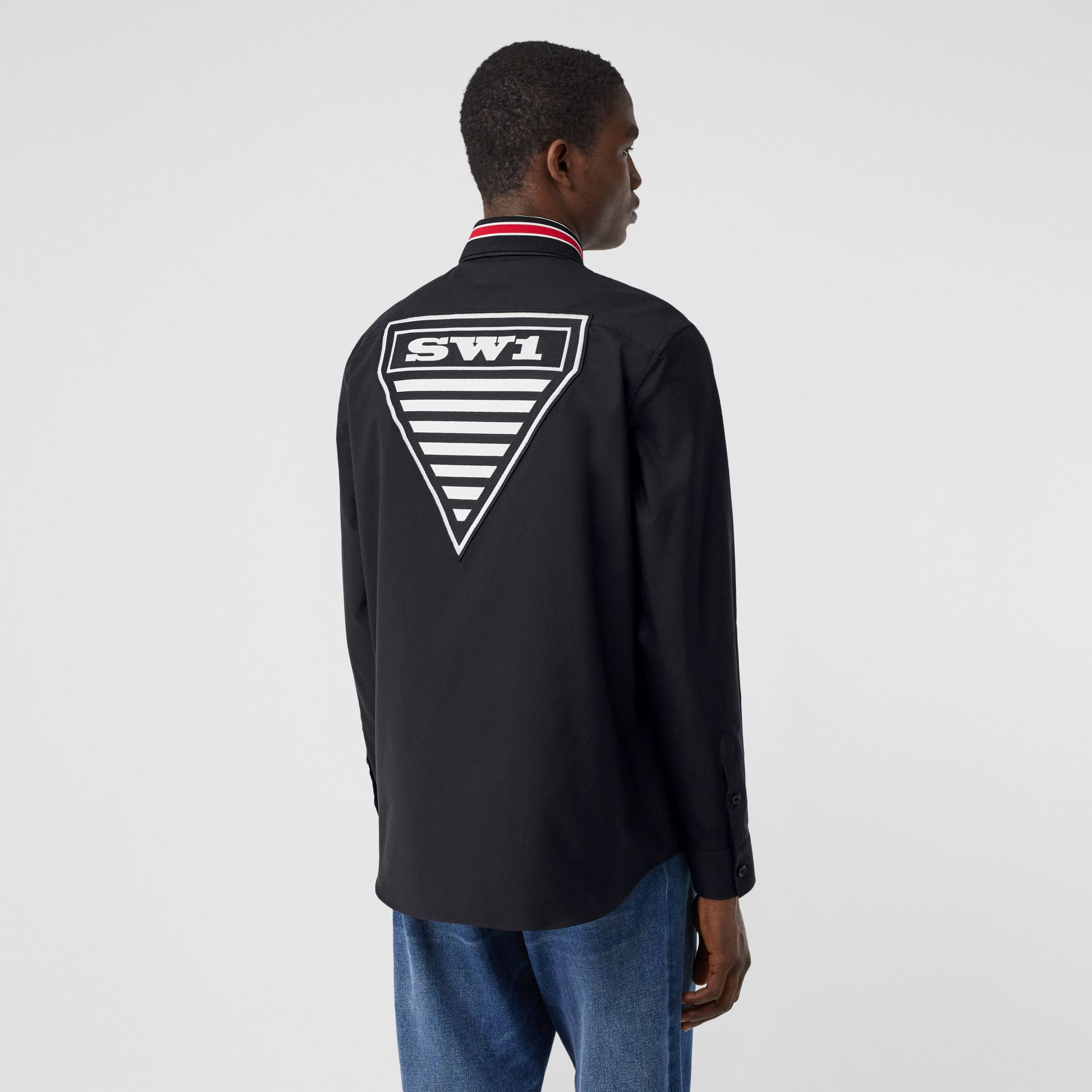 Logo Graphic Cotton Oxford Oversized Shirt in Black - Men   Burberry Hong Kong S.A.R - gallery image 2