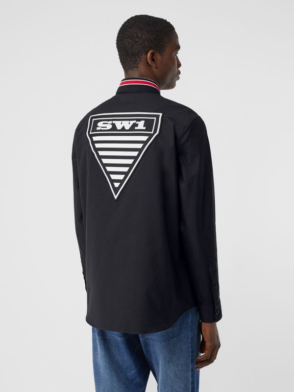 Logo Graphic Cotton Oxford Oversized Shirt in Black - Men   Burberry Hong Kong S.A.R - cell image 2