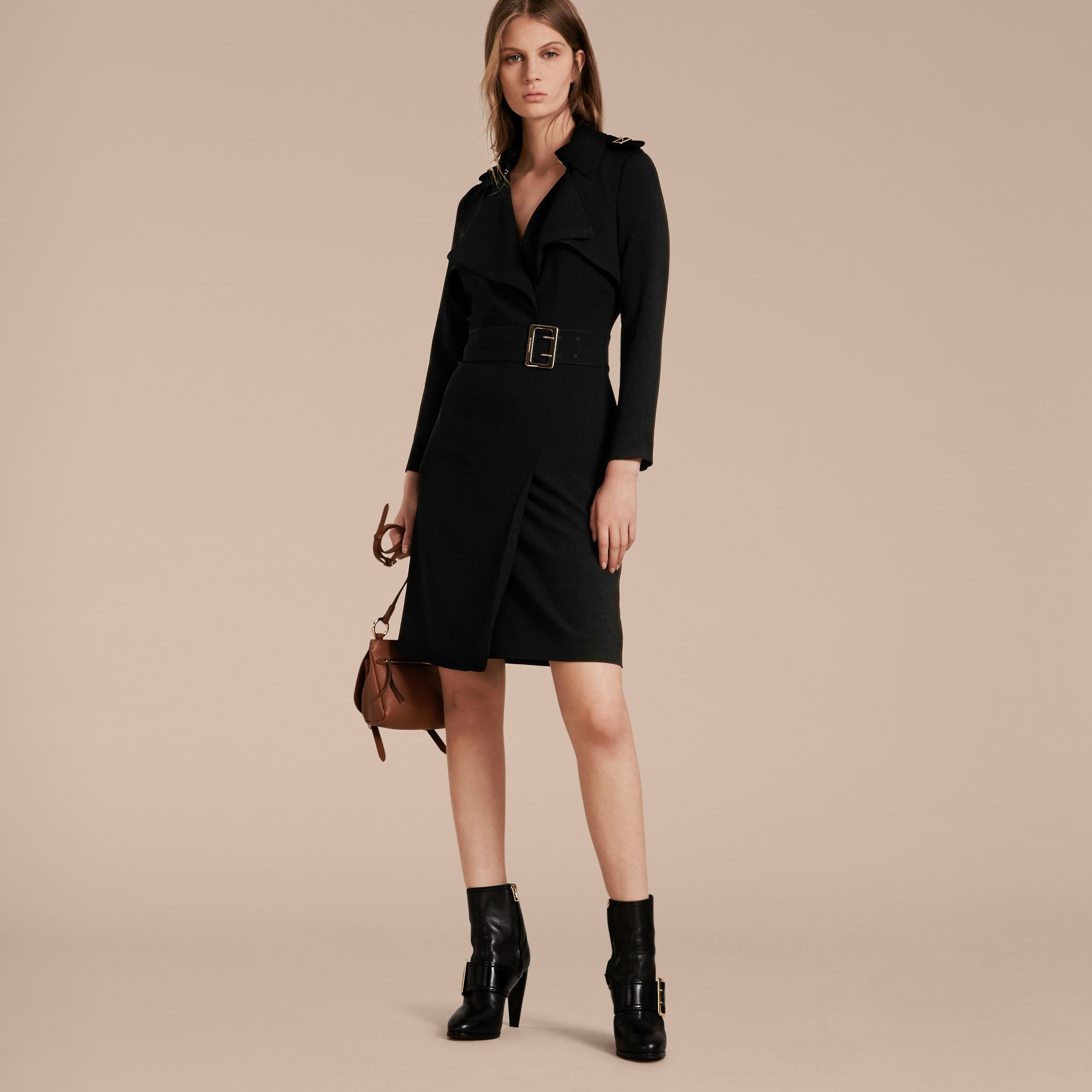 Buckle Detail Satin-back Crepe Trench Dress Black - gallery image 5