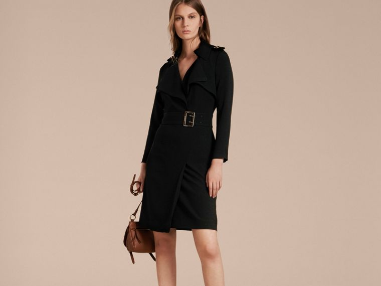 Buckle Detail Satin-back Crepe Trench Dress Black - cell image 4