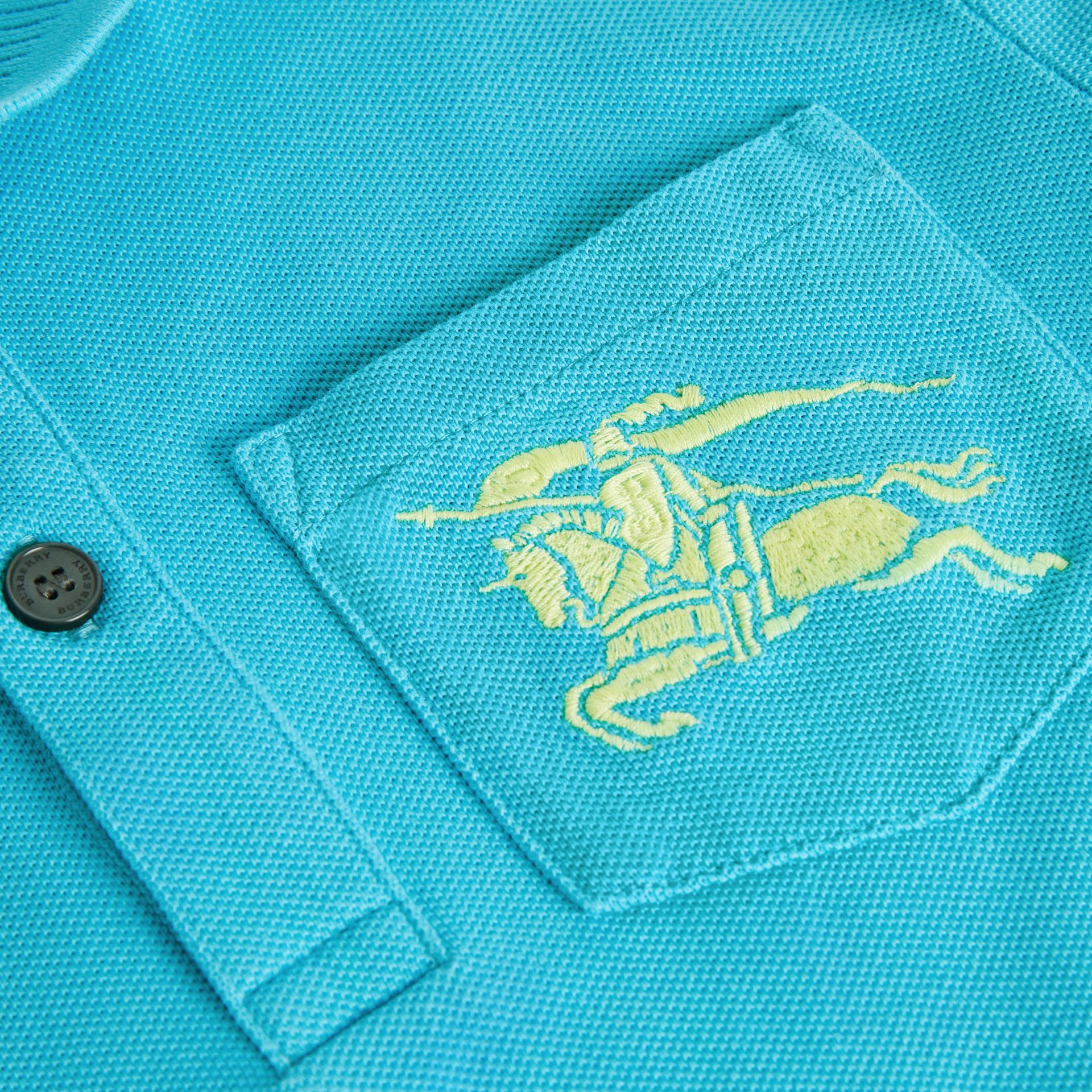 EKD Logo Cotton Piqué Polo Shirt in Bright Cyan Blue | Burberry - gallery image 1