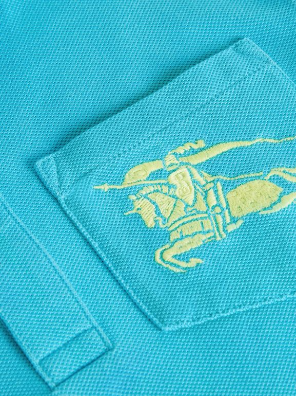 EKD Logo Cotton Piqué Polo Shirt in Bright Cyan Blue | Burberry - cell image 1