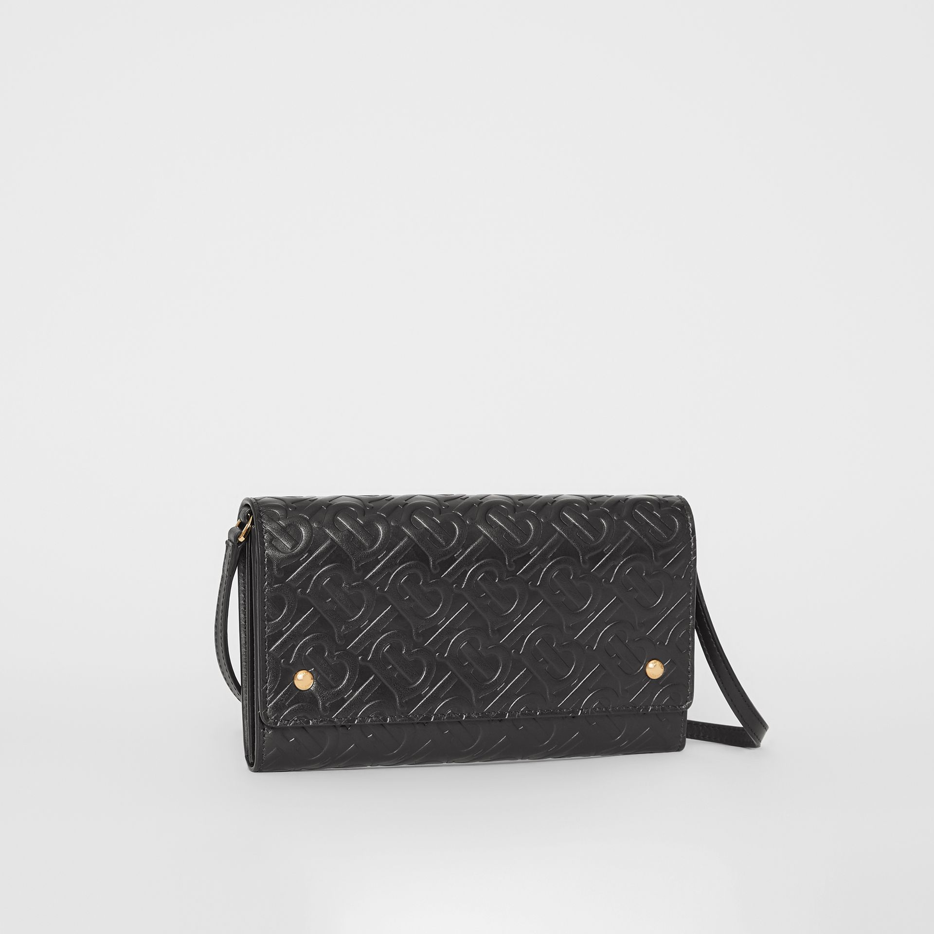 Monogram Leather Wallet with Detachable Strap in Black - Women | Burberry United States - gallery image 6