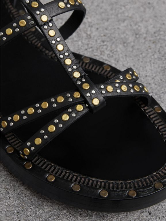 Riveted Leather Gladiator Sandals in Black - Women | Burberry United Kingdom - cell image 1