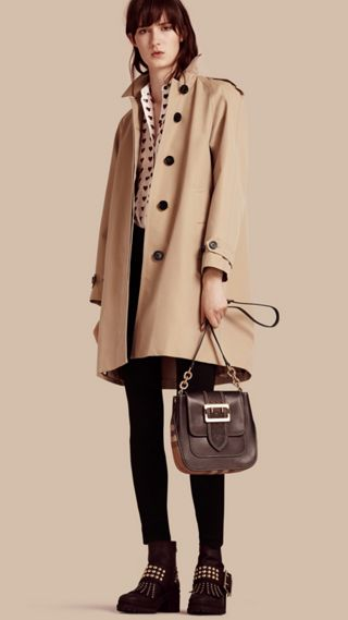 Cotton Gabardine A-line Coat
