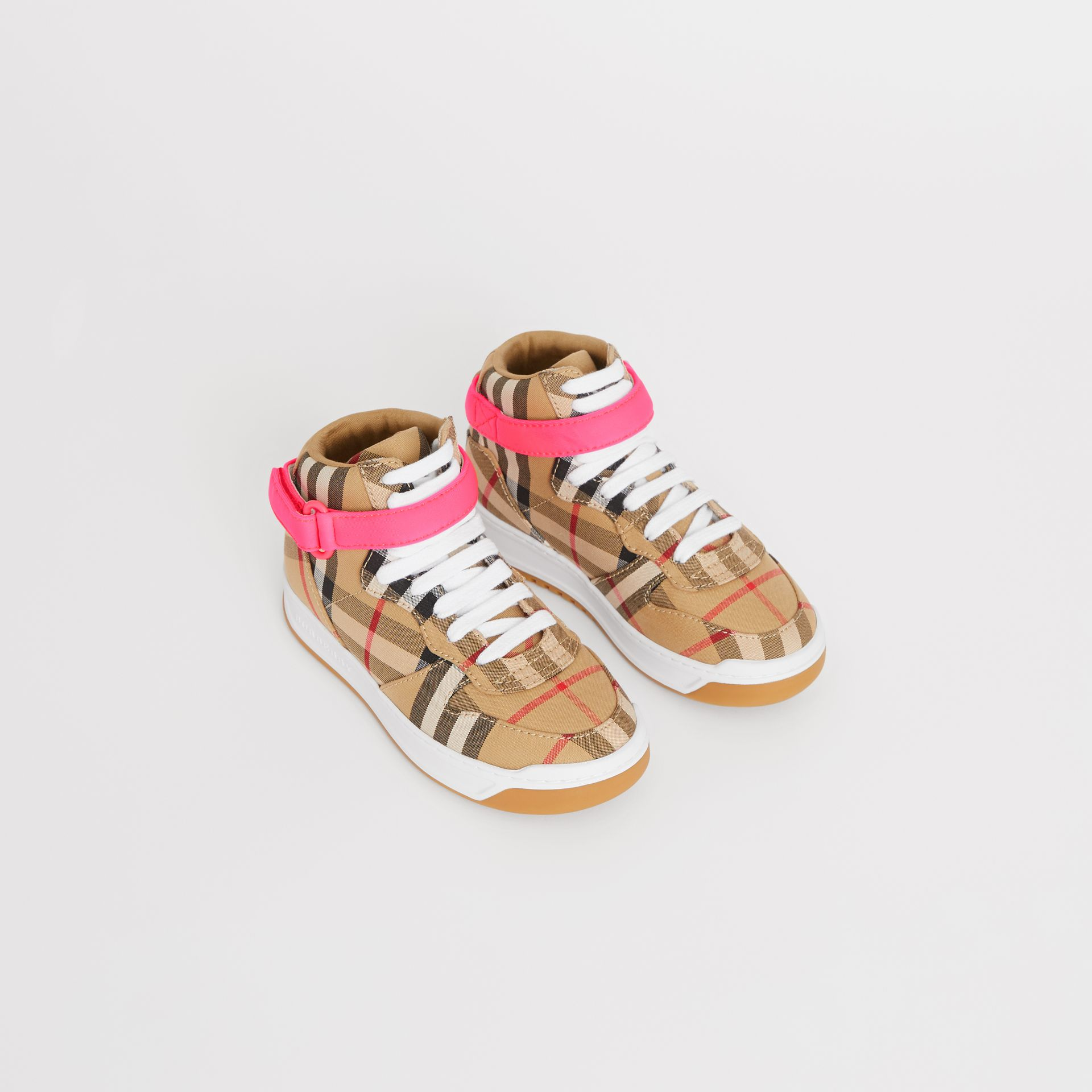 Vintage Check High-top Sneakers in Antique Yellow/neon Pink | Burberry - gallery image 0